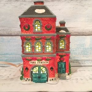 Vintage Fire Station Lighted Christmas Village